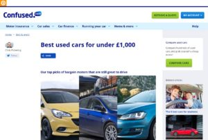 Best used cars under £1,000 feature Confused.com